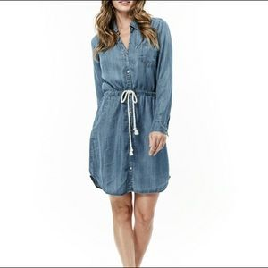 Love Stitch Denim Chambray Button Shirt Dress M